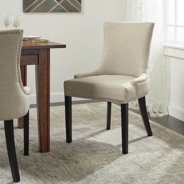 Abbyson Newport Ivory Fabric Nailhead Trim Dining Chair
