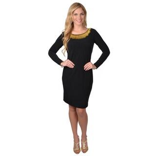 Calvin Klein Women's Long Sleeve Neck Detail Sheath Dress
