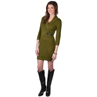 Calvin Klein Women's Green Shawl Collar Buckle Sweater Dress