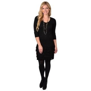 Calvin Klein Women's Three-quarter Sleeve Fringed Sweater Dress