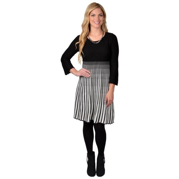 Calvin Klein Women's Long Sleeve Ribbed Bottom Sweater Dress