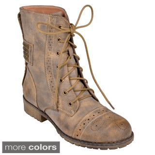 Journee Collection Women's 'Darva' Stud Detail Lace-Up Combat Boots