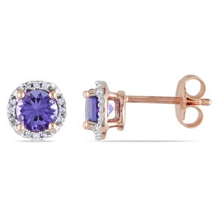 Miadora Rose Plated Silver Tanzanite and Diamond Accent Halo Earrings