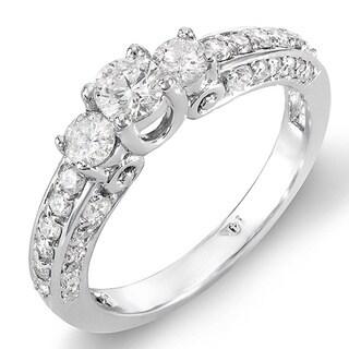 14k White Gold 7/8ct TDW 3-Stone Diamond Ring