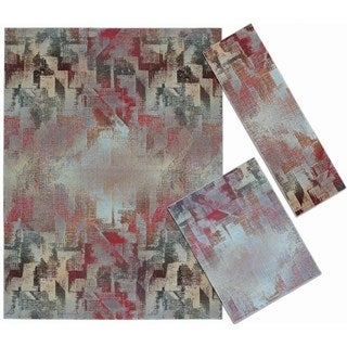 Abstract Living Collection Multicolor Rug 3pc Set by Nourison (2'2 x 7'3) (3'11 x 5'3) (7'10 x 10'6)