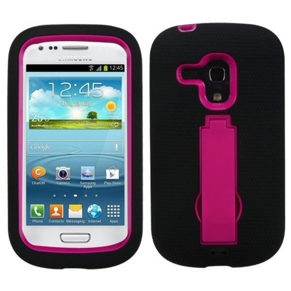 INSTEN Pink/ Black Phone Case Cover with Stand for Samsung G730A Galaxy S3 Mini
