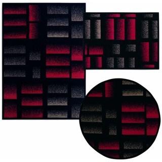 Nourison Air Brushed Logs Collection Black 3-piece Rug Set