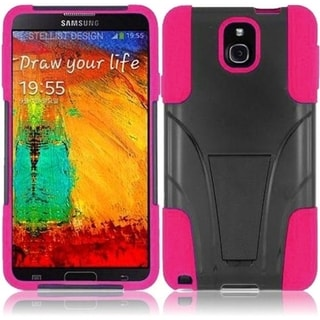 INSTEN Black/ Hot Pink T-Stand Dual Layer Hybrid Stand PC Soft Silicone Phone Case Cover for Samsung Galaxy Note 3