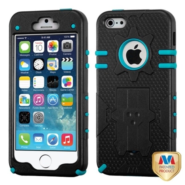 INSTEN Natural Black/ Tropical Teal Phone Case Cover for Apple iPhone 5/ 5S