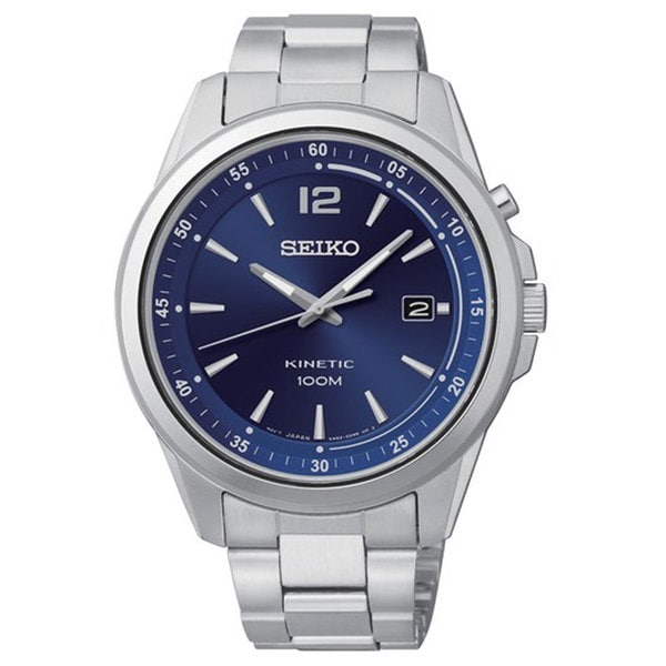Shop seiko men 39 s kinetic blue dial stainless steel watch free shipping today overstock 8582417 for Movado kinetic