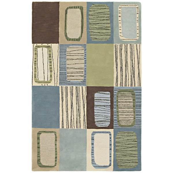 Hand-tufted Lawrence Multi Blue Dimensions Wool Rug - 2' x 3'