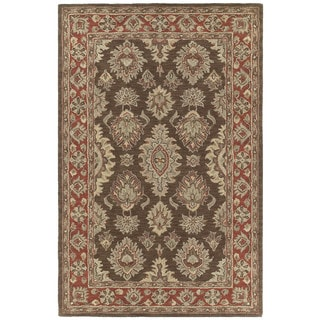 Hand-tufted Lawrence Brown Kashan Wool Rug (9'6 x 13'0)