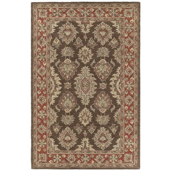 Hand-tufted Lawrence Brown Kashan Wool Rug - 5' x 7'9