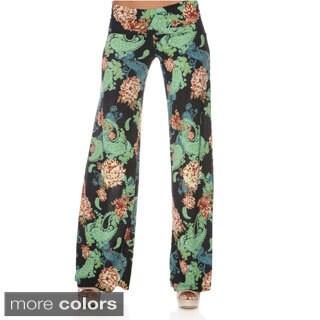 White Mark Women's Hype Print Wide Leg Pants