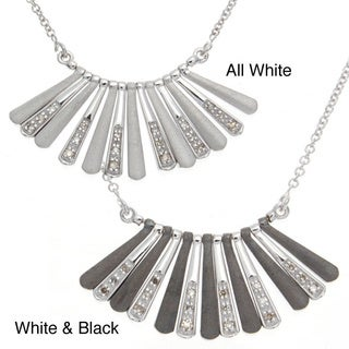 Victoria Kay Sterling Silver Black or White Diamond Bib Necklace