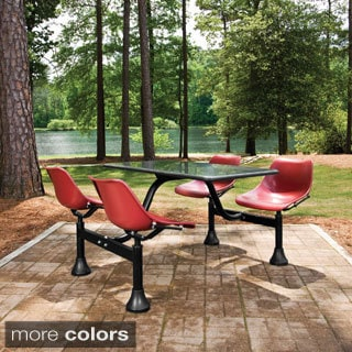 OFM Stainless Steel Cluster Table with 4-chairs