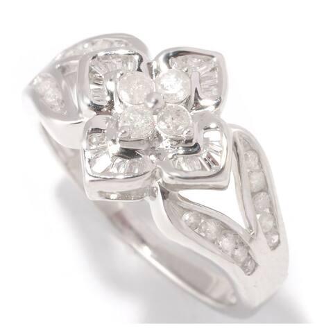 Sterling Silver 1/2ct TDW Vintage Inspired Floral Design Diamond Ring (H-I, I1-I2) - White