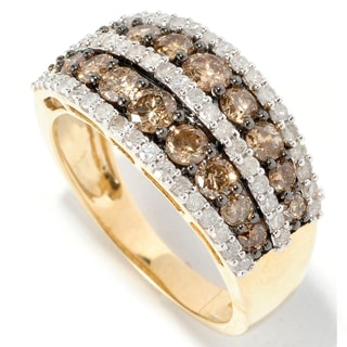 14k Yellow Gold 1 3/4ct TDW Brown and White Diamond Ring (H-I, I1-I2)