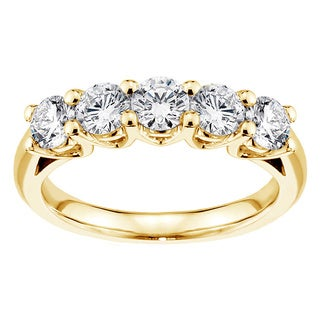 14k/ 18k Yellow Gold 1ct TDW Brilliant Cut V-Prong Large Diamond Wedding Band