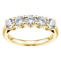 14k/ 18k Yellow Gold 1ct TDW Brilliant Cut V-Prong Large Diamond Wedding Band