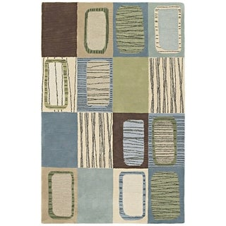 Hand-tufted Lawrence Blue Dimensions Wool Rug (7'6 x 9')