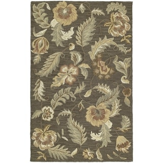 Hand-tufted Lawrence Mocha Floral Wool Rug (3' x 5') - 3' x 5'