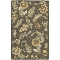 Hand-tufted Lawrence Mocha Floral Wool Rug - 3' x 5'