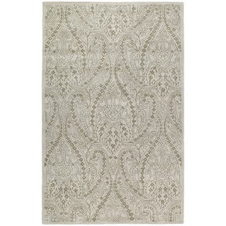 Hand-tufted Lawrence Beige Damask Wool Rug (7'6 x 9')