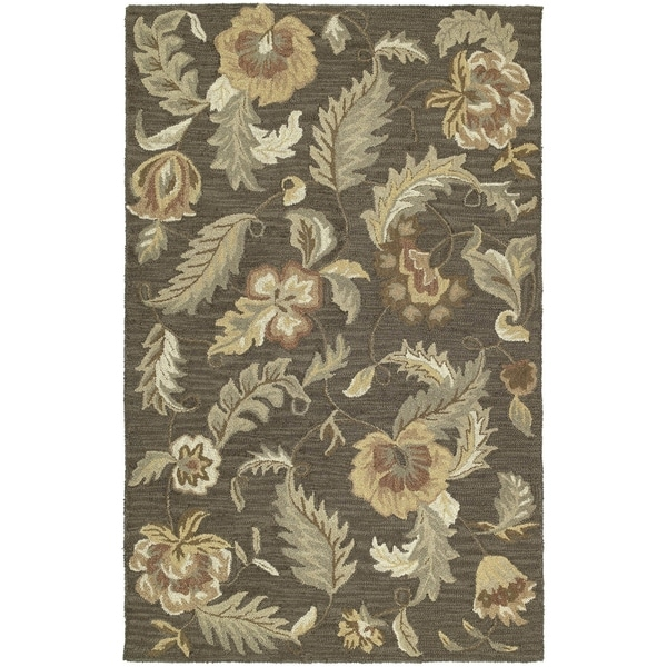 Hand-tufted Lawrence Mocha Floral Wool Rug - 7'6 x 9'