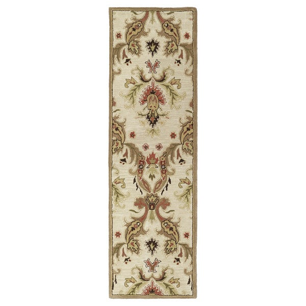 Lawrence' Multi Damask Hand-tufted Wool Rug - 5' x 7'9