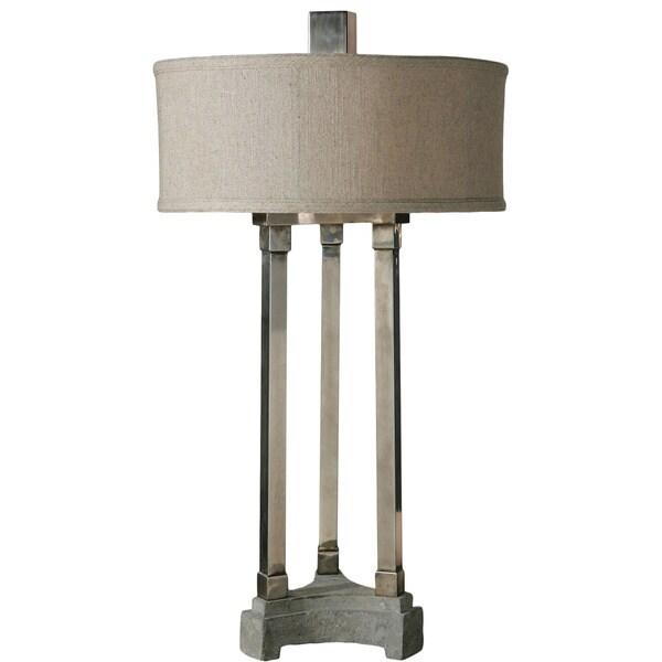 Uttermost Risto 1-Light Antiqued Brushed Aluminum Table Lamp