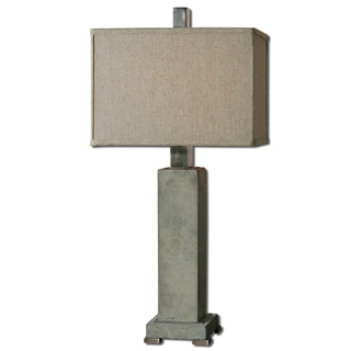 Uttermost Risto 1-light Concrete Antiqued Brushed Aluminum Table Lamp