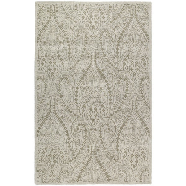 Hand-tufted Lawrence Beige Damask Wool Rug - 9'6 x 13'