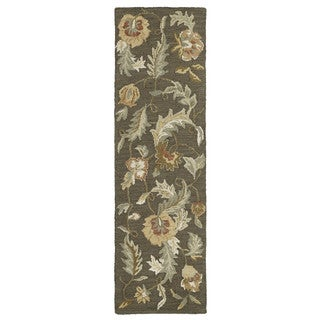 Hand-tufted Lawrence Mocha Floral Wool Rug (2'3 x 7'6)