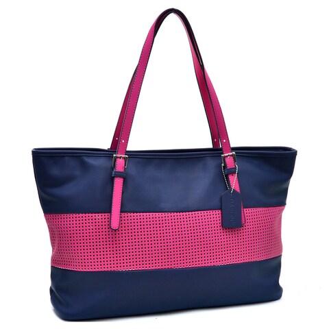 Dasein Two Tone Mesh Panel Tote Bag Handbag