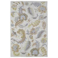 Hand-tufted Lawrence Oatmeal Floral Wool Rug - 2' x 3'