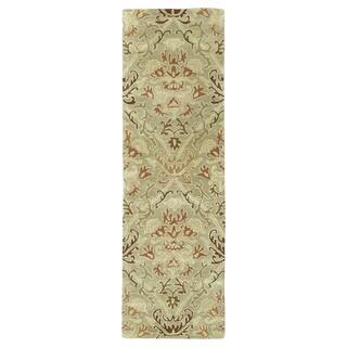 Hand-tufted Lawrence Khaki Green Damask Wool Rug (2'3 x 7'6)