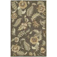 Hand-tufted Lawrence Mocha Floral Wool Rug - 5' x 7'9