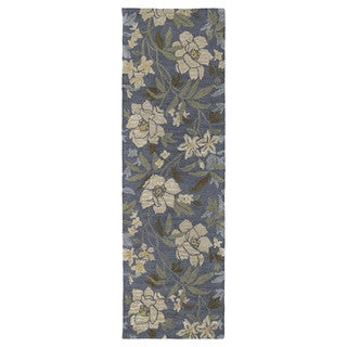Hand-tufted Lawrence Blue Floral Wool Rug (2'3 x 7'6)