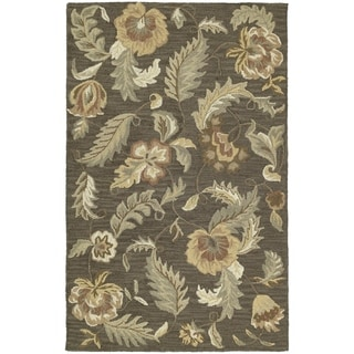 Hand-tufted Lawrence Mocha Floral Wool Rug (2' x 3')