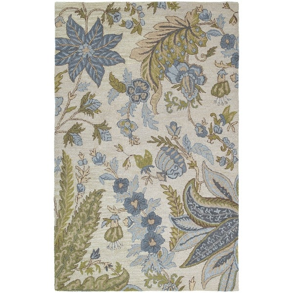 Hand-tufted Lawrence Sandy Blue Floral Wool Rug - 5' x 7'9