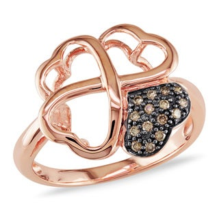 Miadora 14k Rose Gold Brown Diamond Accent Heart Ring