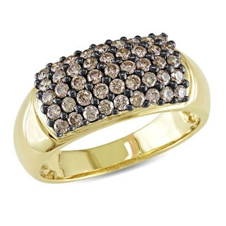 Miadora Signature Collection 14k Yellow Gold 3/4ct TDW Brown Diamond Ring