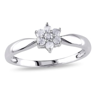 Miadora Sterling Silver 1/6ct TDW Diamond Flower Ring