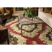 Hand-tufted Lawrence Red Damask Wool Rug - 7'6 x 9'