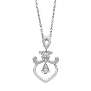 Diamonds For A Cure 14k White Gold Diamond Fleur de Lis Necklace (H-I, SI)