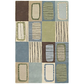 "Hand-tufted Lawrence Blue Dimensions Wool Rug (9'6 x 13') - 9'6"" x 13'"