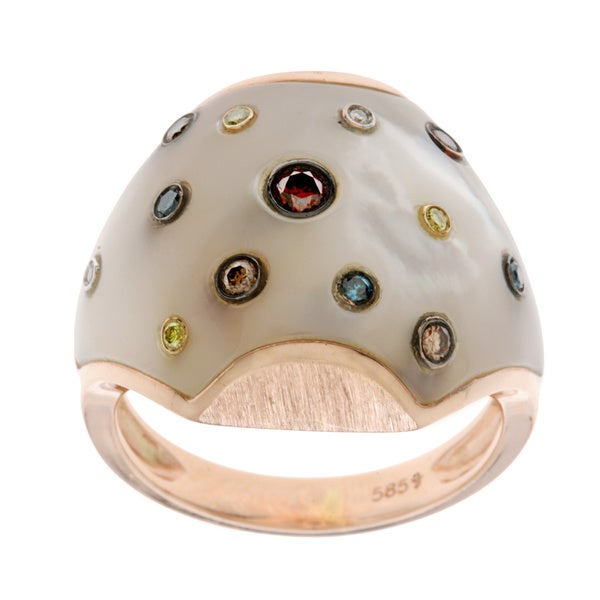 Diamonds For A Cure 14k Rose Gold Mother of Pearl and Color Diamond Ring