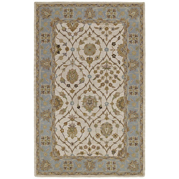 Hand-tufted Lawrence Beige Arabesque Wool Rug - 5' x 7'9