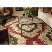 Hand-tufted Lawrence Red Damask Wool Rug - 5' x 7'9